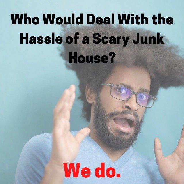 frightened man - we buy junk houses